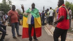 La contestation continue au Mali. Opposants lors d'une manifestation à Bamako, le 10 juillet 2020