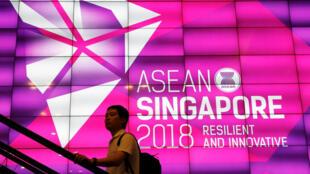 Affiche du sommet annuel de l'Association des nations d'Asie du Sud-Est (Asean) qui se déroule à Singapour du 12 au 15 novembre 2018.