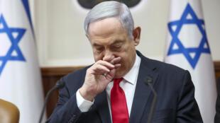 El primer ministro israelí, Benjamin Netanyahu, preside su reunión semanal de gabinete el 8 de marzo de 2020 en Jerusalén