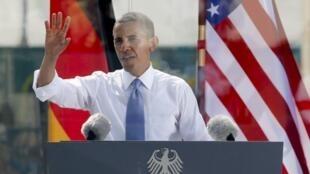 O presidente dos EUA, Barack Obama durante discurso em Berlim
