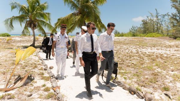 Le président français, Emmanuel Macron, en visite aux îles Éparses, le 23 octobre 2019.