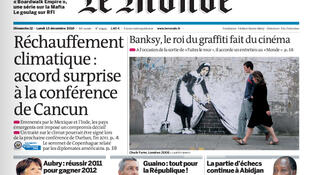 La Une du Monde du 12 décembre 2010.