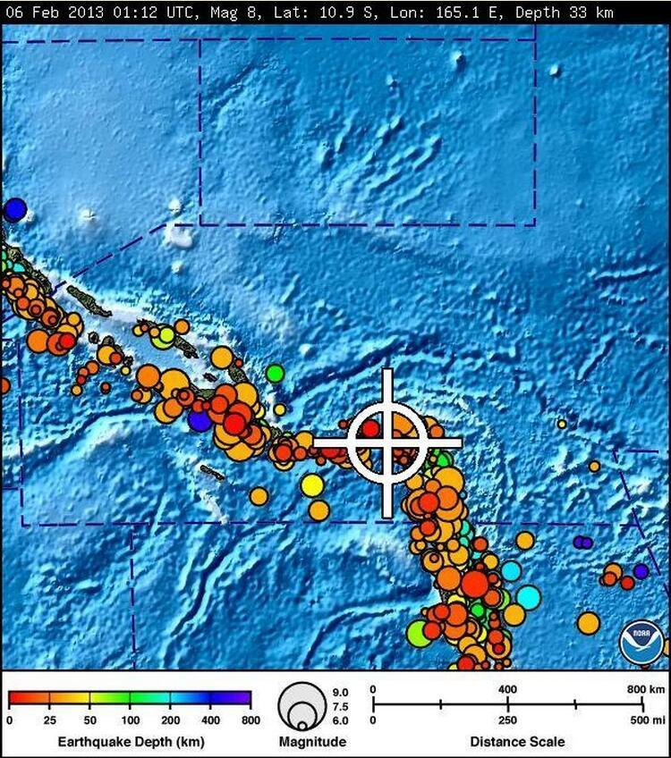 Le bulletin publié par le Centre d'alerte au tsunami dans le Pacifique.