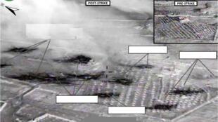 Một khu vực được cho là của quân thánh chiến ở Syria, trước và sau khi bị Mỹ oanh kích ngày 23/09/2014.