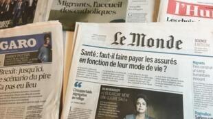Primeiras páginas dos diários franceses 6/09/2016
