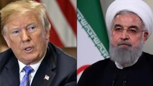 Les présidents Donald Trump et Hassan Rohani.