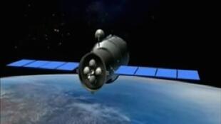 Animação em 3D do módulo espacial Tiangong-1.