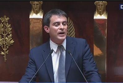 Reprodução de vídeo do primeiro discurso do Primeiro-Ministro Manuel Valls na Assembléia Nacional.