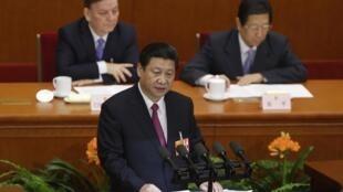 中國主席習近平在2013年兩會上。