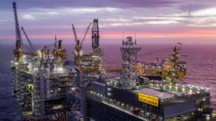 Une vue du champ pétrolifère « Johan Sverdrup » en mer du Nord, le 7 janvier 2020.