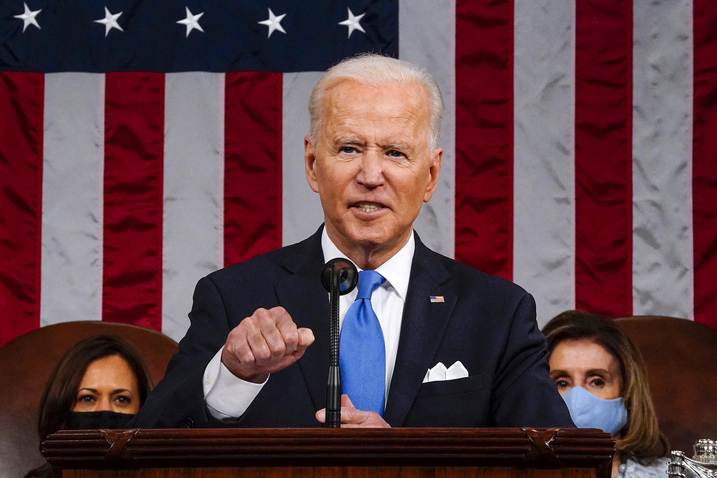 Joe Biden hailed the US vaccination rollout and recovery from the pandemic, and laid out a new massive spending splurge aimed at helping American families
