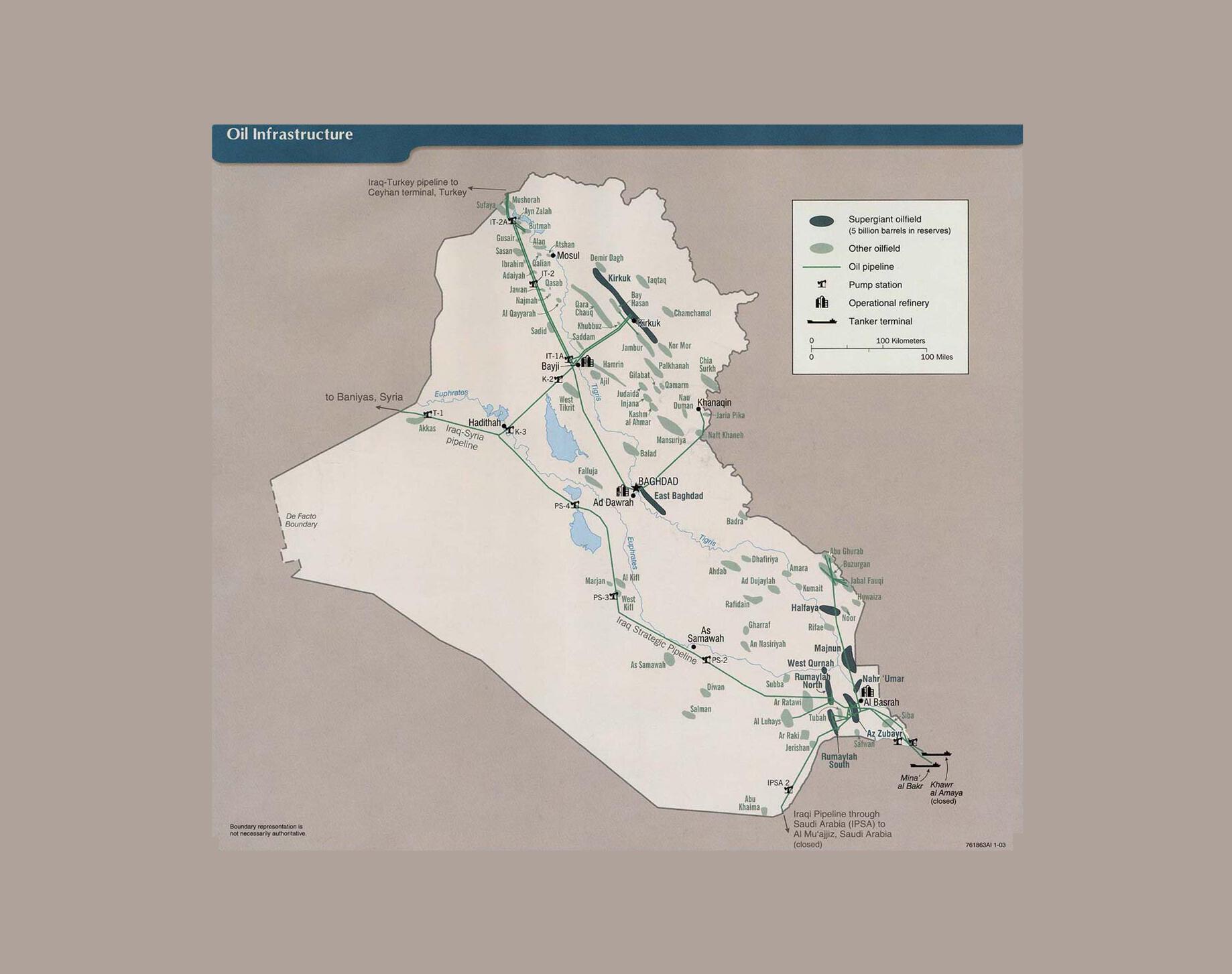Carte du pétrole en Irak.