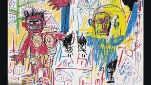 "Obra de Jean-Michel Basquiat, exposta na Fundação Louis Vuitton de Paris, ""Untitled 1982""."