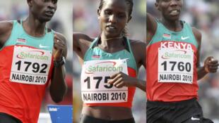 David Rudisha, Nancy Lagat et Richard Mateelong remportent l'or pour le Kenya, ce 30 juillet 2010.