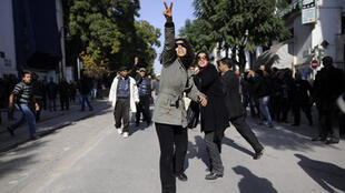 Tunis: manifestação contra o regime do presidente Ben Ali em 2011.