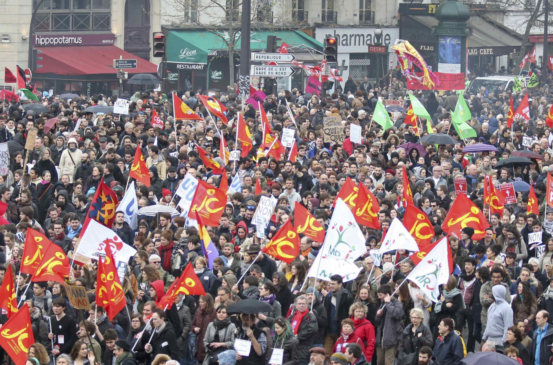 Манифестация против реформы Трудового кодекса в Париже 9 апреля 2016