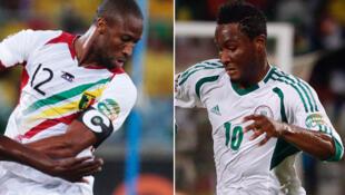 Le Malien Seydou Keita (à g.) et le Nigérian John Obi Mikel (à d.).