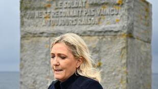 President of National Rally, Marine Le Pen, makes a speech in front of the French free Navy monument on Sein island, Brittany, 17 June 2020.