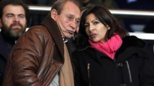 Анн Идальго и Бертран Деланроэ на матче ПСЖ-«Лион», Париж, 1 декабря 2013 года