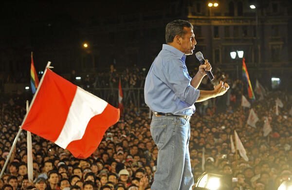 Ollanta Humala addresses crowds on 5 June