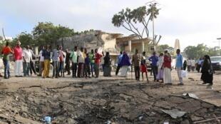 Le lieu d'une précédente attaque shebab à Mogadiscio, Somalie.