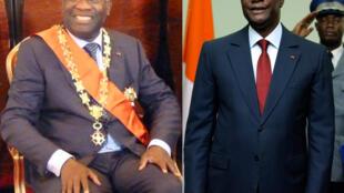 Laurent Gbagbo (esquerda) et Alassane Ouattara (direita) tomaram posse ambos a 4 de Dezembro de 2010.