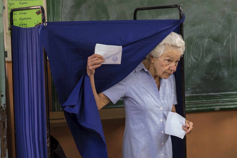 Избирательный участок в афинах 5 июля
