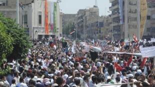 Manifestation contre le régime du président el-Assad à Hama le 22 juillet 2011.