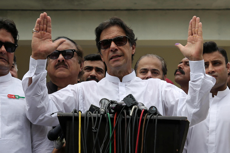 巴基斯坦新當選總理伊姆蘭·汗,2018年7月25日。