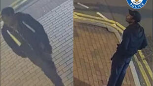 Dos imágenes tomadas por cámaras de vigilancia, publicadas por la policía de West Midlands, muestran a un hombre buscado por el ataque con arma blanca, en el centro de Birmingham a primera hora del 6 de septiembre de 2020