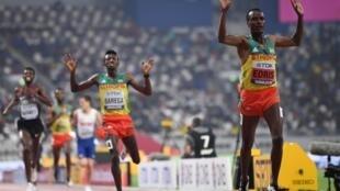 Muktar Edris led an Ethiopian double in the men's 5000 metres.
