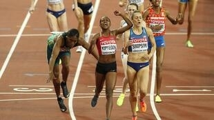 Caster Semenya of South Africa, Faith Chepngetich Kipyegon of Kenya and Jennifer Simpson of the U.S. finish the race