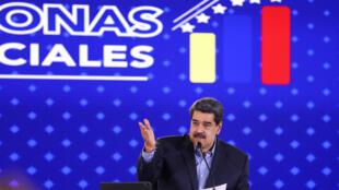 El presidente venezolano Nicolás Maduro brinda un mensaje durante un acto oficial en Caracas, el 26 de mayo de 2021
