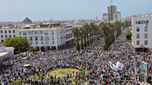 Manifestation dans la capitale Rabat en solidarité au mouvement de protestation du Rif, en juin 2017.