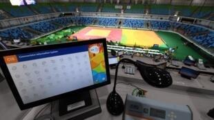 Une vue générale d'une cabine de journaliste pendant une épreuve de judo au JO de Rio en 2016.