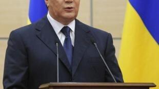 O presidente deposto Viktor Yanukovich concedeu uma coletiva à imprensa na cidade de Rostov do Don, na Rússia.