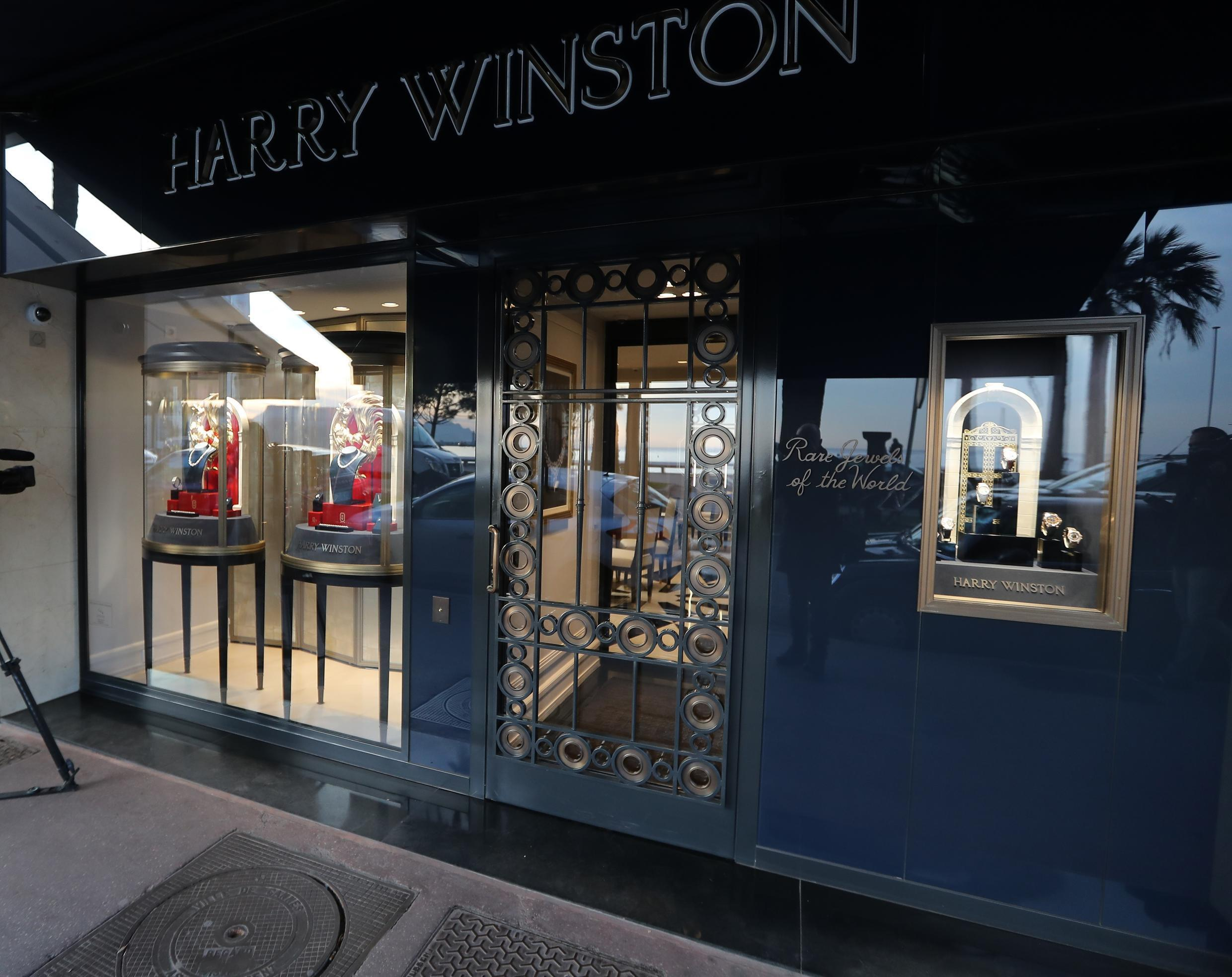 The shop window of the Harry Winston jewelry shop on the Croisette promenade in Cannes, southern France, on January 18, 2017, a few hours after a robbery took place at the shop.