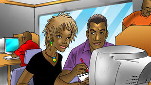 Nathalie and Kwamé are doing some research...