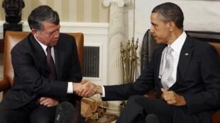 Le roi Abdallah de Jordanie en compagnie de Barack Obama à la Maison-Blanche le 17 mai 2011.