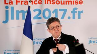 Jean-Luc Melenchon lors de l'annonce des résultats du premier tour de la présidentielle, le 23 avril 2017.