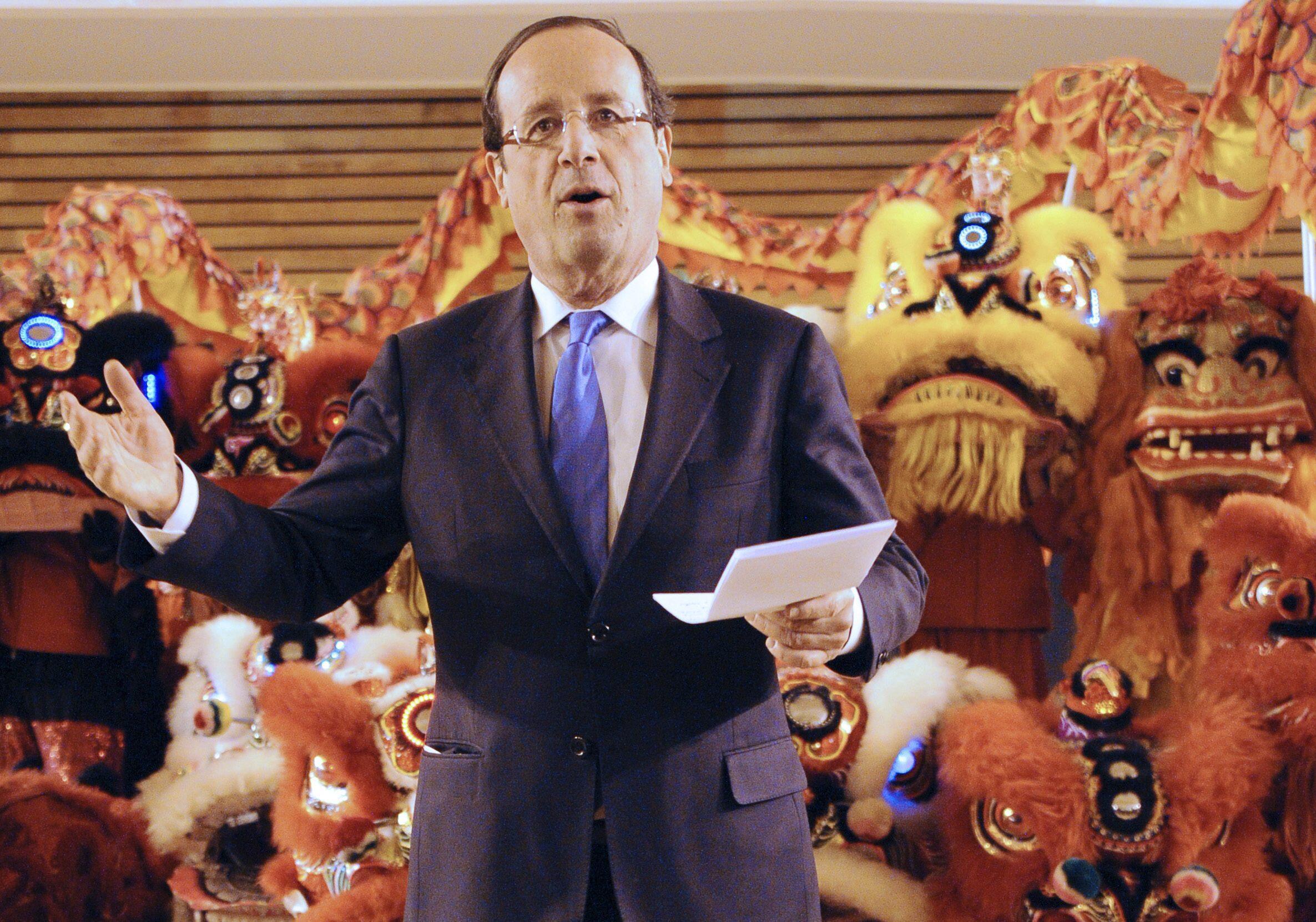 Ứng viên tổng thống Pháp của đảng Xã Hội François Hollande tham dự lễ mừng Tết Nguyên đán, Paris, 29/01/2012