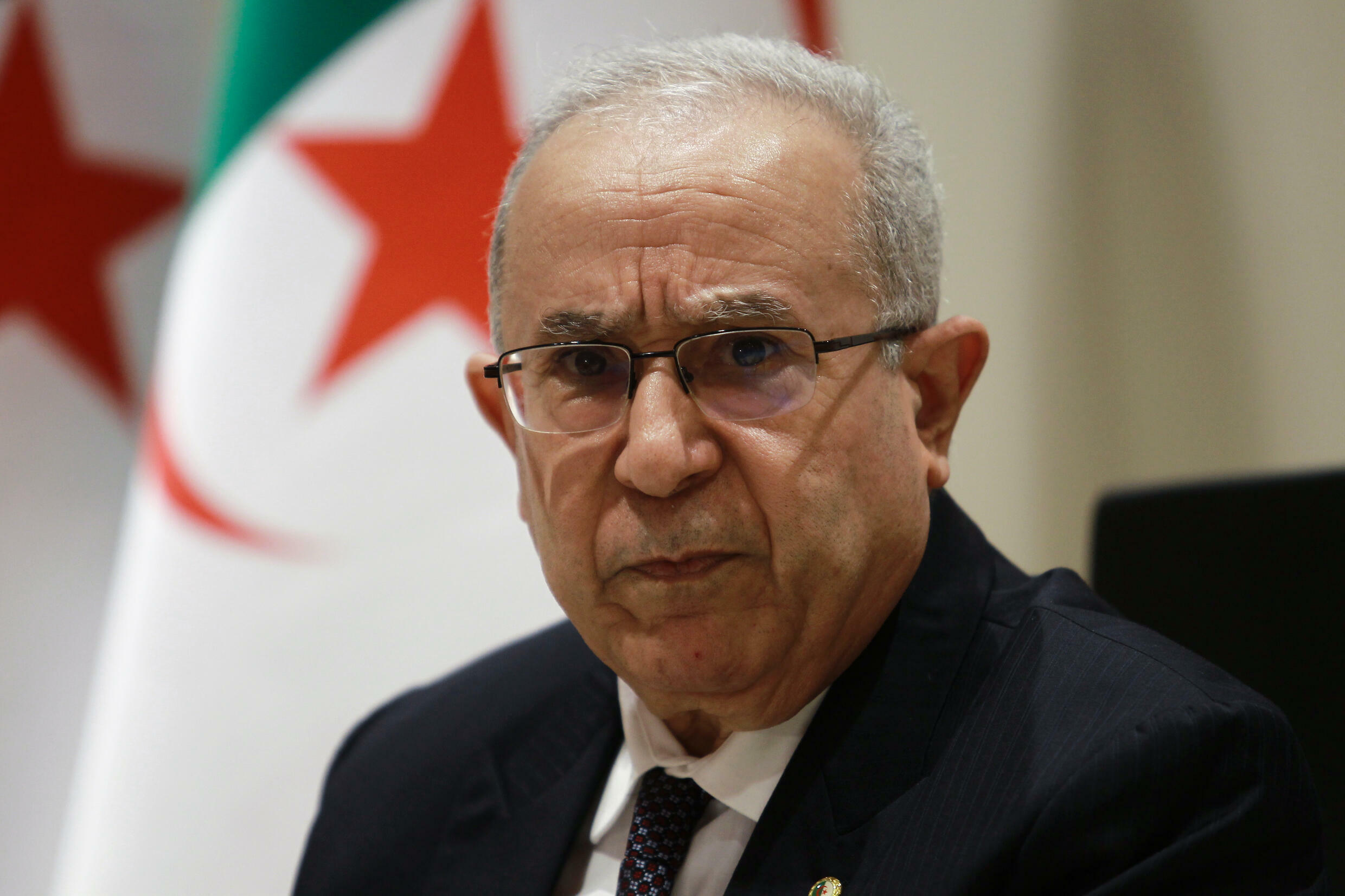 Algeria's Foreign Minister Ramtane Lamamra holds a press conference in the capital Algiers, on August 24, 2021