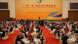 Le président chinois Xi Jinping a tenu un discours pendant le banquet de bienvenue pour le sommet sur la nouvelle route de la soie.