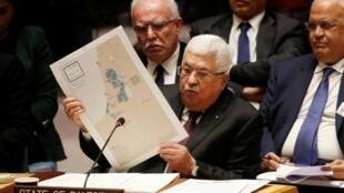 O presidente palestino Mahmoud Abbas fala no Conselho de Segurança da ONU, em 11 de fevereiro de 2020.