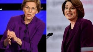 La sénatrice du Massachusetts Elizabeth Warren (à gauche) et la sénatrice du Minnesota Amy Klobuchar (à droite).