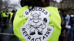 Надпись на желтом жилете участника акции в Анже: «Строптивый галл», 19 января 2019.