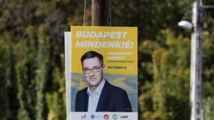 Affiche électorale à Budapest pour le candidat de l'opposition, Gergely Karacsony.