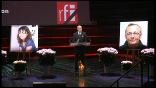 French Foreign Minister Laurent Fabius addresses the commemoration ceremony for Claude Verlon and Ghislaine Dupont