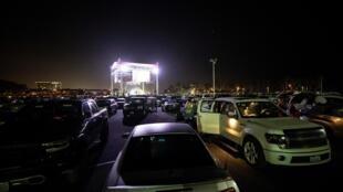 Un exemple de concert en drive-in à Ventura en Californie (États-Unis). Le 25 juillet 2020.