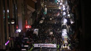Des milliers de Serbes dans la rue, le samedi 12 janvier 2019, à Belgrade pour protester contre le Président Vučić.